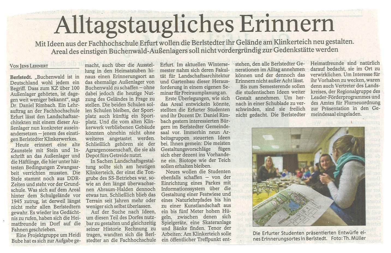 Berlstedt: Konzeptvorstellung - Quelle: TA 13.01.2012