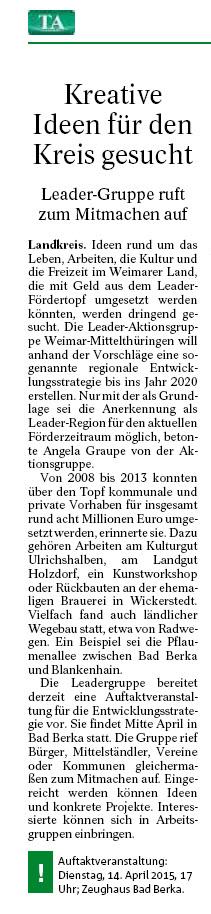 Thüringer Allgemeine vom 21.02.2015