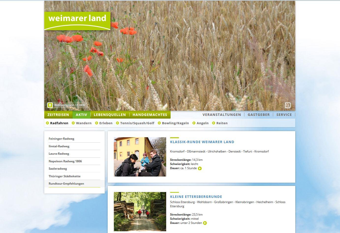 Internetseite Weimarer Land Tourismus e.V. - Radrundenempfehlungen (Weimarer Land Tourismus e.V.)