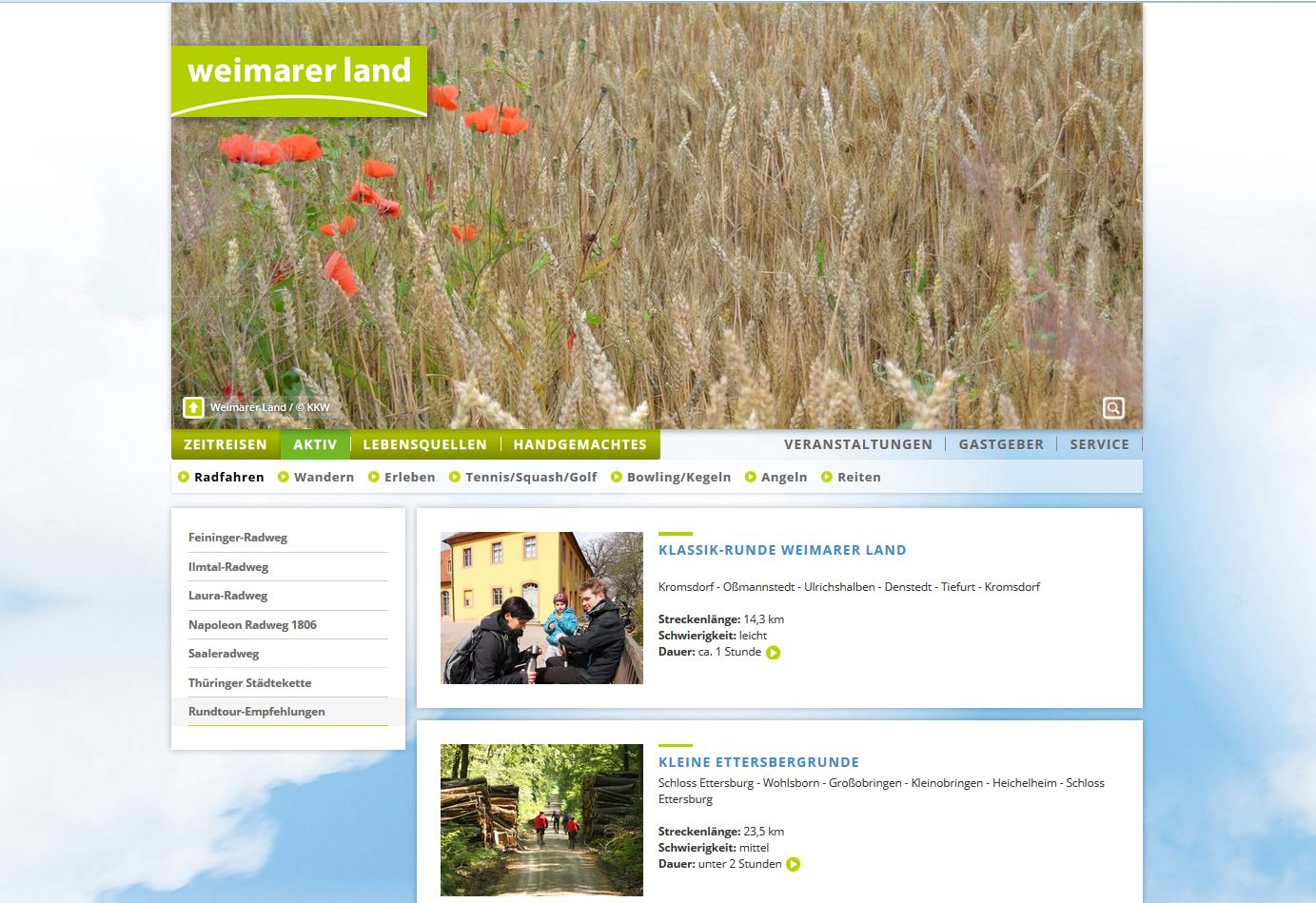 Internetseite Weimarer Land Tourismus e.V. - Radrundenempfehlungen, Weimarer Land Tourismus e.V.